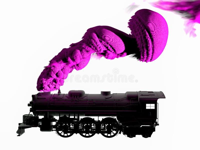 3D ha generato la siluetta della locomotiva a vapore in bianco e nero su fondo bianco Fumo di soffio del treno dal suo tubo royalty illustrazione gratis