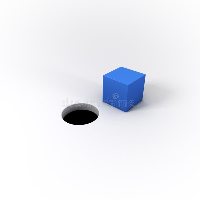 3D ha illustrato il piolo quadrato blu e un foro rotondo su un briciolo luminoso illustrazione di stock