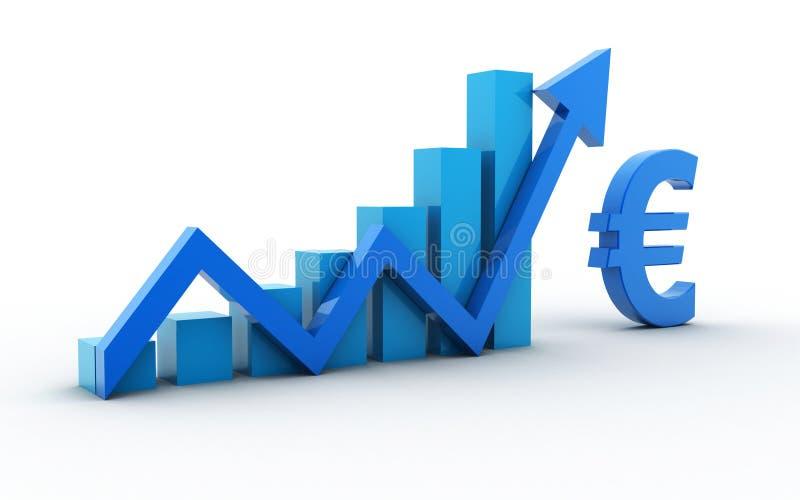 3d ha reso il grafico con l'euro segno e la freccia su isolata su fondo bianco illustrazione di stock