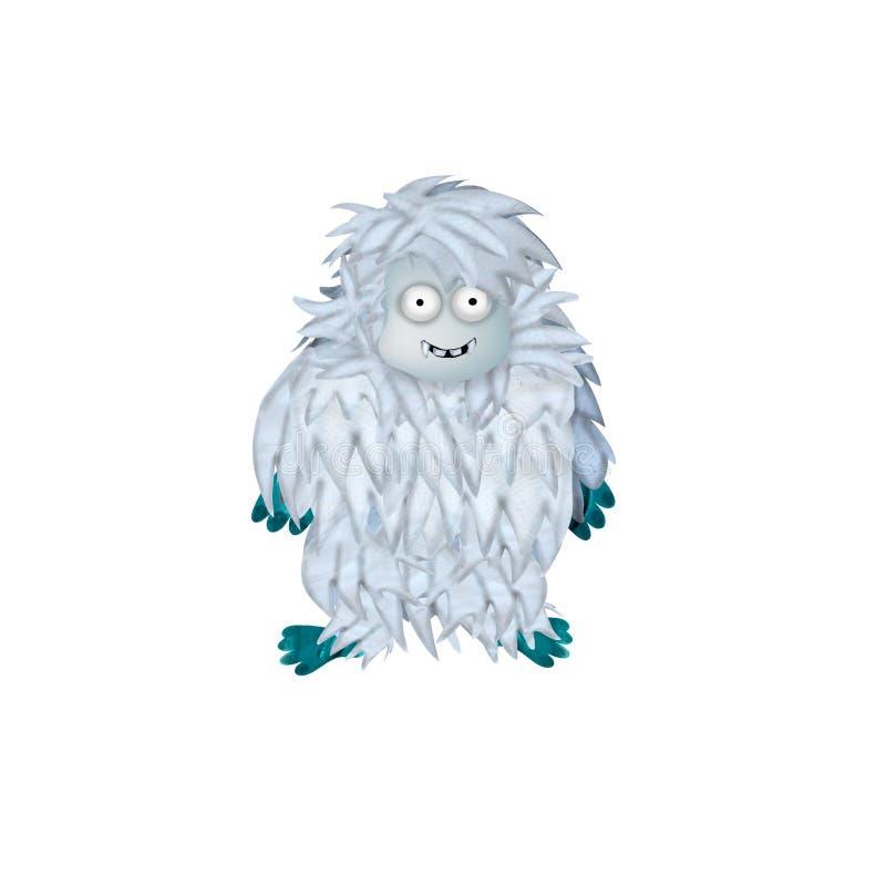 3D ha reso il personaggio dei cartoni animati del mostro degli yeti isolato su bianco illustrazione vettoriale