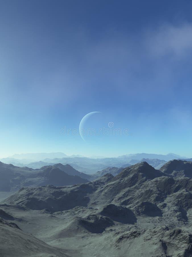 3d ha reso l'arte dello spazio: Pianeta straniero - un paesaggio di fantasia con i cieli blu e le nuvole fotografie stock libere da diritti