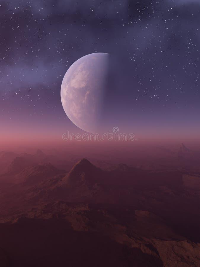 3d ha reso l'arte dello spazio: Pianeta straniero - un paesaggio di fantasia con i cieli e le stelle porpora illustrazione vettoriale