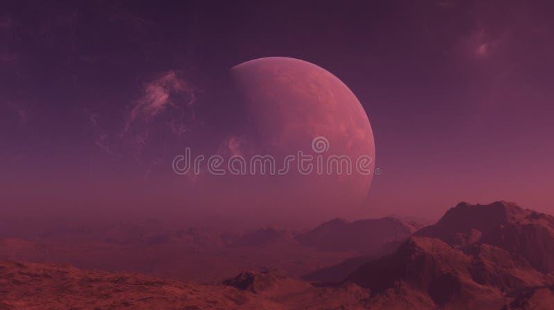 3d ha reso l'arte dello spazio: Pianeta straniero - un paesaggio di fantasia con i cieli rossi ed il cielo nebbioso royalty illustrazione gratis
