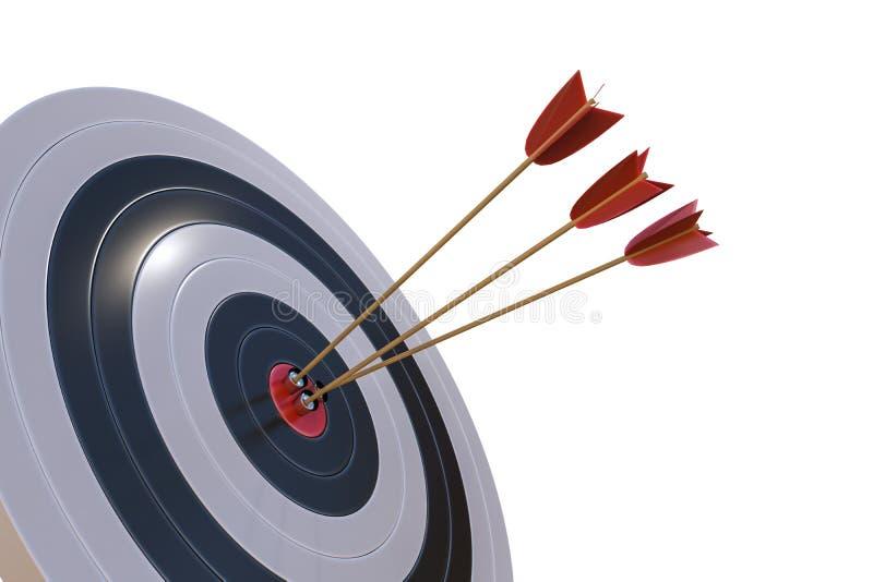 3D ha reso l'illustrazione dell'obiettivo con le frecce Isolato su priorità bassa bianca royalty illustrazione gratis
