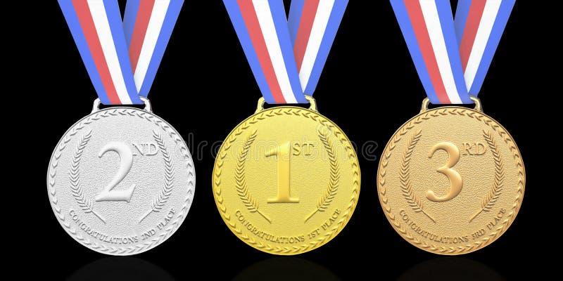 3D ha reso l'oro, argento, medaglie di bronzo illustrazione vettoriale