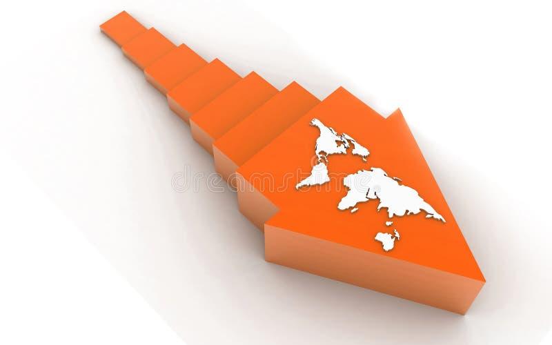 3d ha reso la freccia su fondo bianco illustrazione di stock
