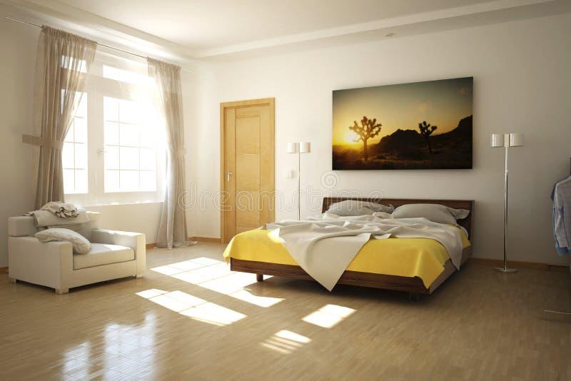 3D ha reso la stanza del letto illustrazione vettoriale