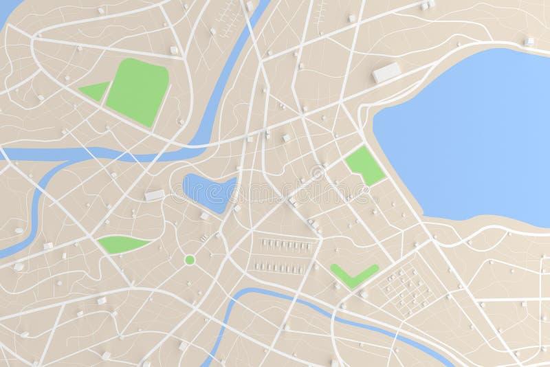 3D ha reso la vista superiore della mappa della città con il ill del fiume 3D della costruzione di strade royalty illustrazione gratis