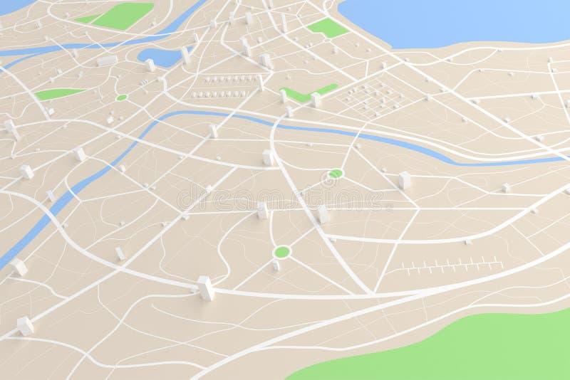 3D ha reso la vista superiore della mappa della città con il ill del fiume 3D della costruzione di strade illustrazione vettoriale