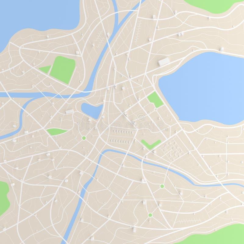 3D ha reso la vista superiore della mappa della città con il ill del fiume 3D della costruzione di strade illustrazione di stock