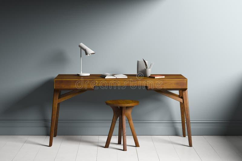 3D ha reso lo scrittorio di legno in una stanza fotografia stock libera da diritti
