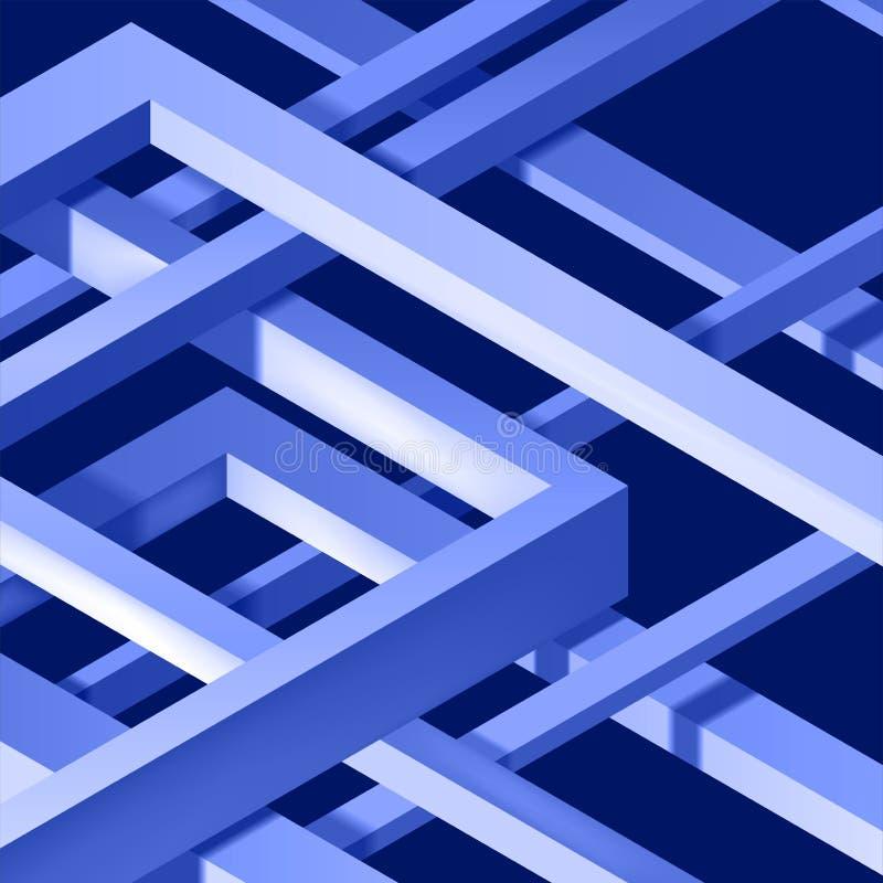 3D ha torto la composizione delle forme astratte del plesso Forme del labirinto Costruzione irreale di vettore su fondo scuro royalty illustrazione gratis