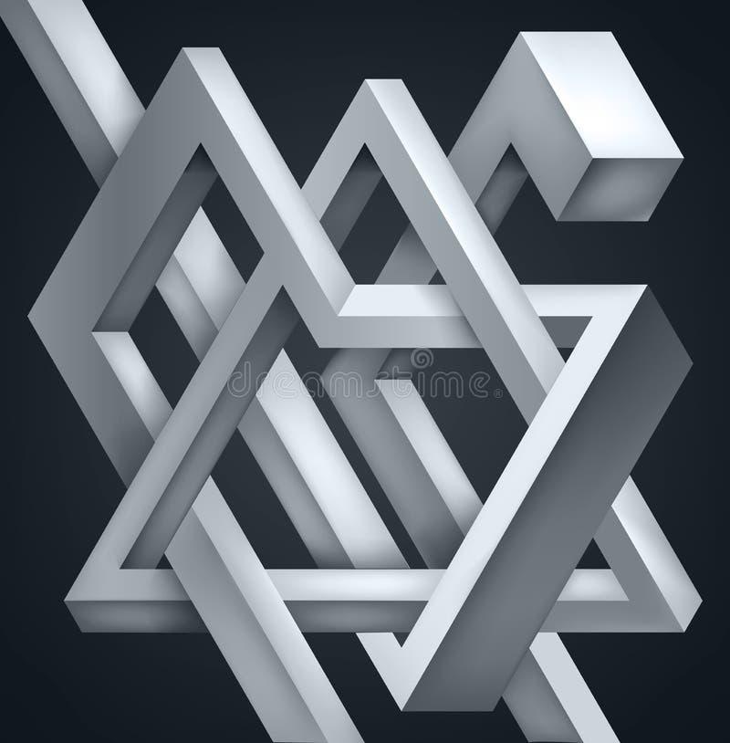 3D ha torto la composizione delle forme astratte Le forme imbarazzano Costruzione irreale di vettore su fondo scuro royalty illustrazione gratis