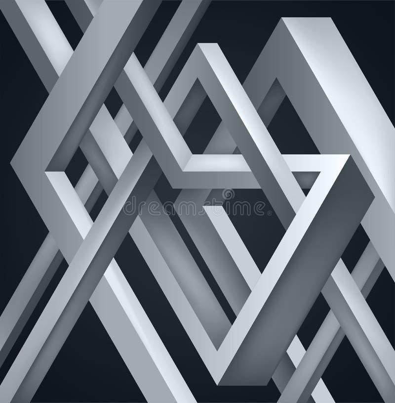3D ha torto la composizione delle forme astratte Le forme imbarazzano Costruzione irreale di vettore su fondo scuro illustrazione di stock