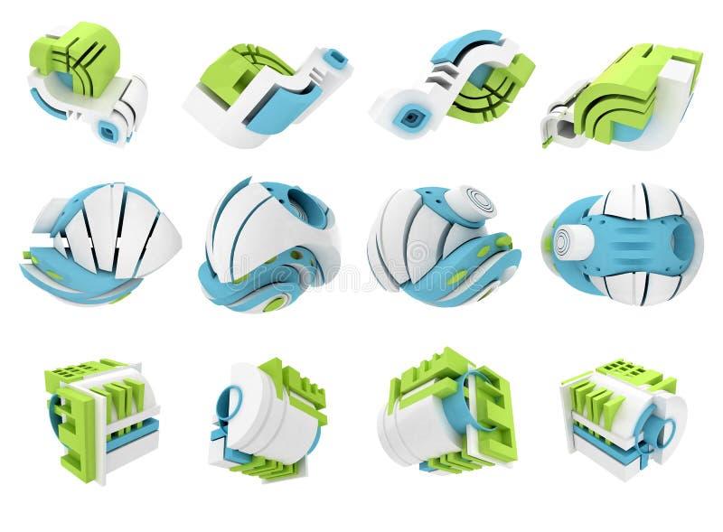 3D rinden de los iconos geométricos abstractos 3D imagenes de archivo