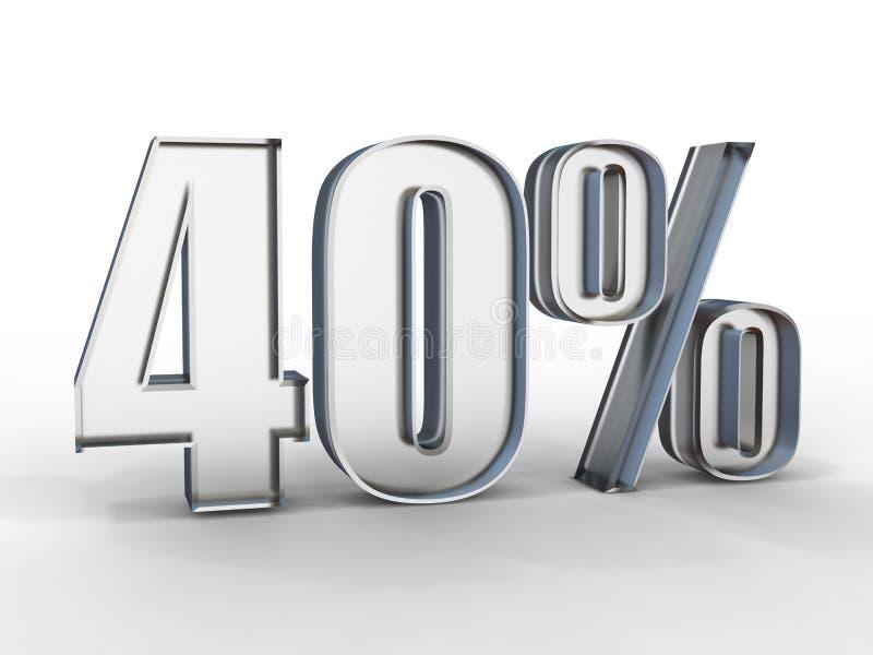 3D hacen de 40 procent del texto de la venta del descuento en el vidrio aislado en blanco ilustración del vector