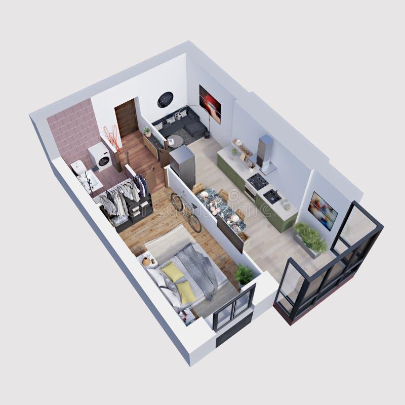 3d hacen el plan y la disposici?n de un apartamento moderno, isom?tricos ilustración del vector