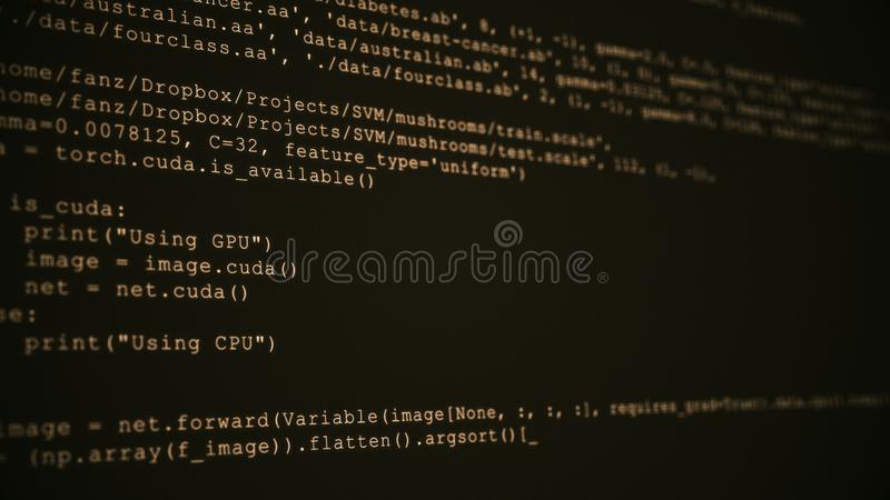 3D Hacking code data flow stream on sepia. Screen with typing coding symbols royalty free stock photo