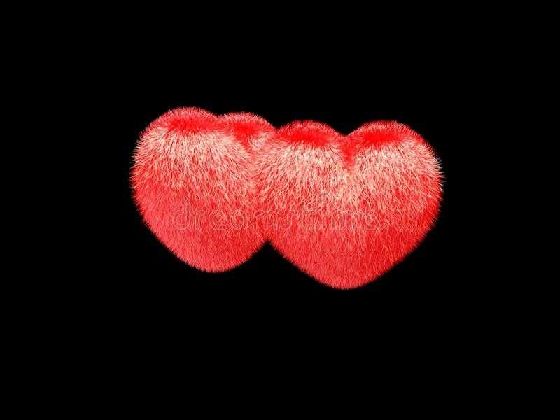 3d Hairy valentine hearts. On a black background stock illustration