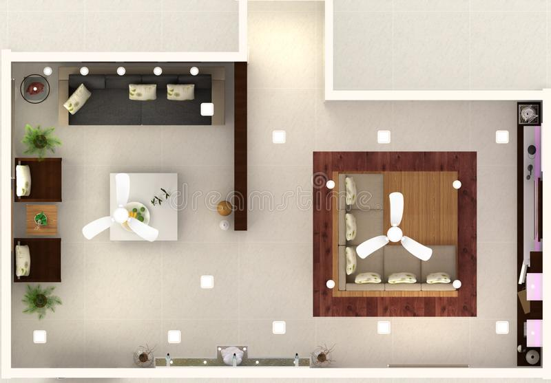 3d hall interior design top view stock illustration for Drawing hall interior decoration