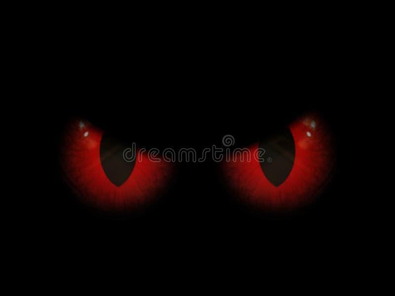 3D Halloween-achtergrond met rode kwade ogen stock illustratie