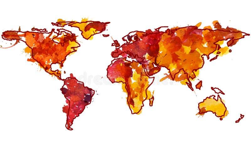 2d hand dragen vattenfärgillustration av världskartan stock illustrationer
