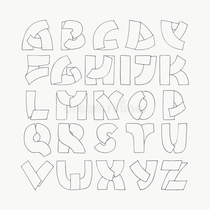Download 2d Hand Drawn Alphabet Letters From A To Z In Simple Outline Style Decorative