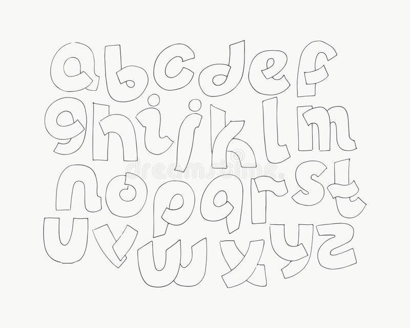 D hand drawn alphabet letters from a to z in simple