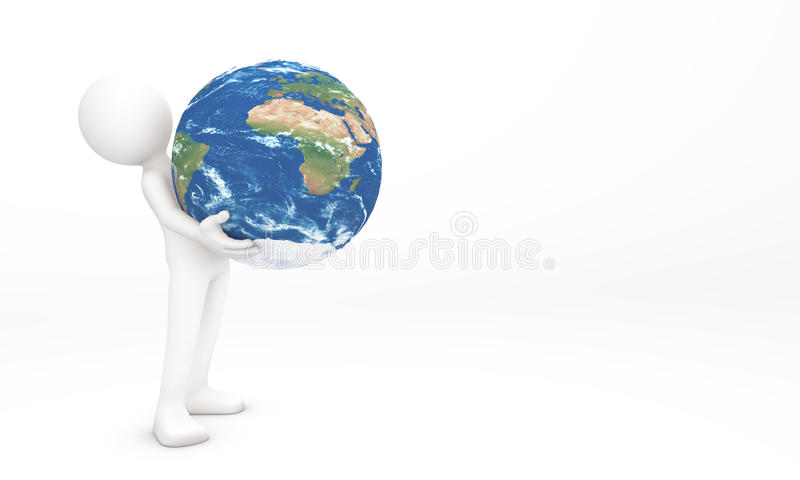 3d hands giving the Earth to you. It represent take care the earth or environment. 3d man lift up and give the Earth to you royalty free stock photos
