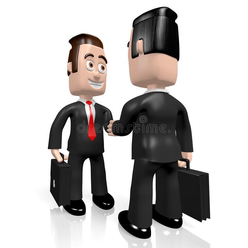 3D businessmen - handshake concept royalty free illustration