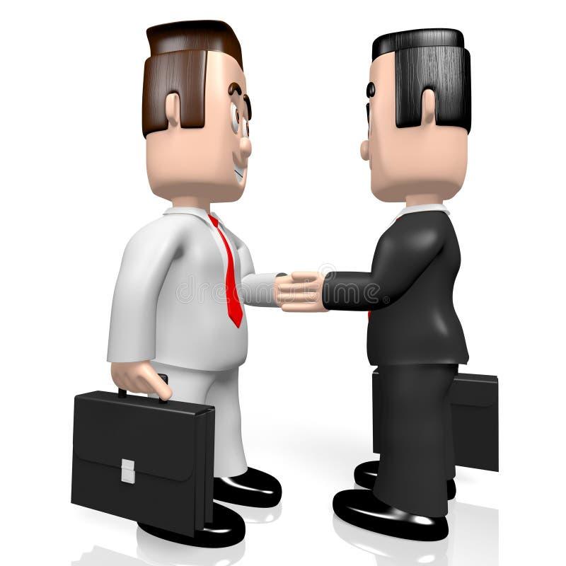 3D businessmen - handshake concept stock illustration