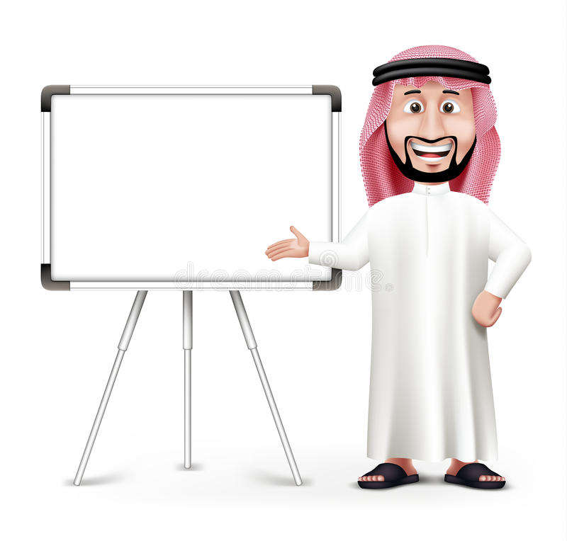 3D Handsome Saudi Arab Man in Traditional Dress. Stand Teaching while Smiling with Blank White Board with Space for Text or Business Messages. Editable Vector royalty free illustration