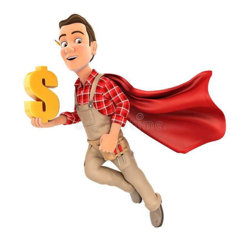 3d handyman met gouden dollarteken vector illustratie