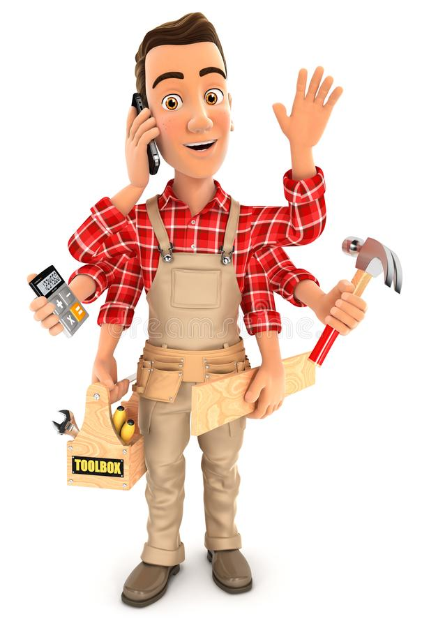 Download 3d Handyman With Six Arms Multitasking Concept Stock Illustration - Illustration of smartphone, graphics: 109083931