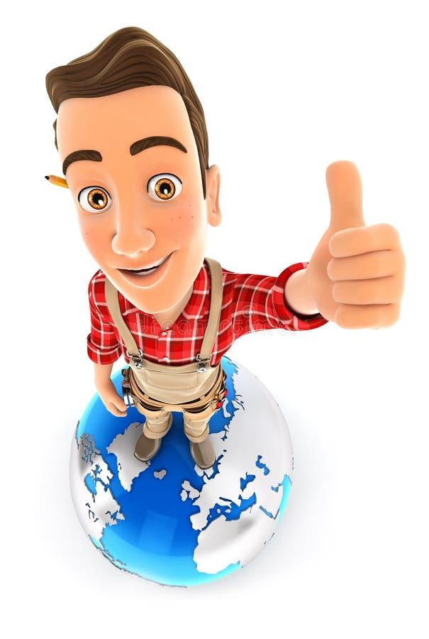 3d handyman staat op aarde met duim omhoog vector illustratie