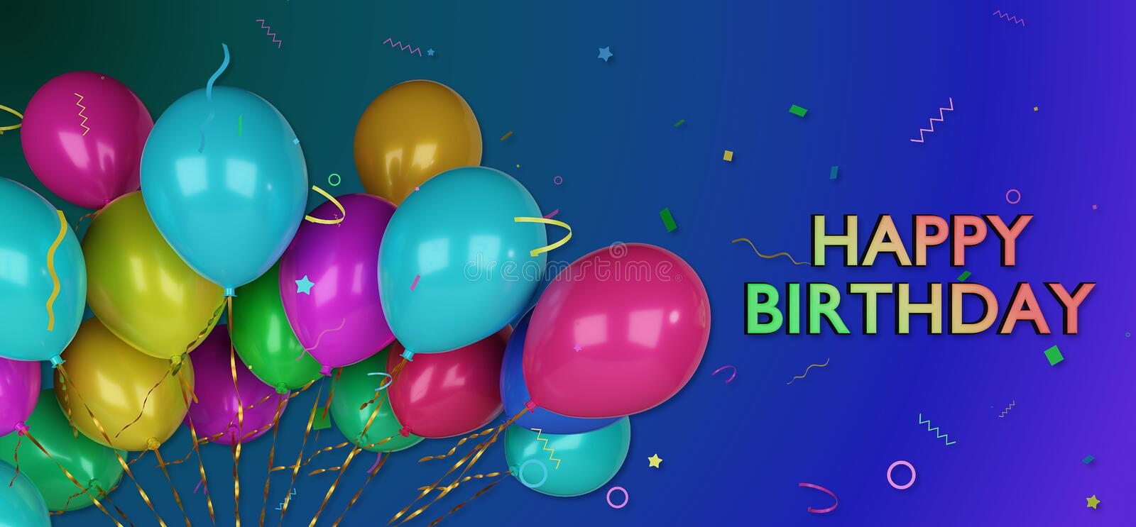3d happy birthday greetings card stock illustration illustration 3d happy birthday greetings card with colorful balloons and confetti m4hsunfo