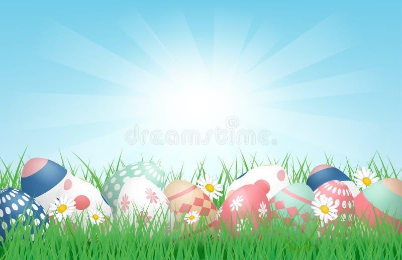 3D Happy Easter背景,阳光下草地上彩色复活节彩蛋 矢量插图 横幅,背景,春天, 库存例证