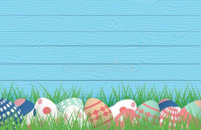 3D Happy Easter,在木背景的草田上放上彩色复活节彩蛋 矢量插图 横幅,背景,春天, 皇族释放例证