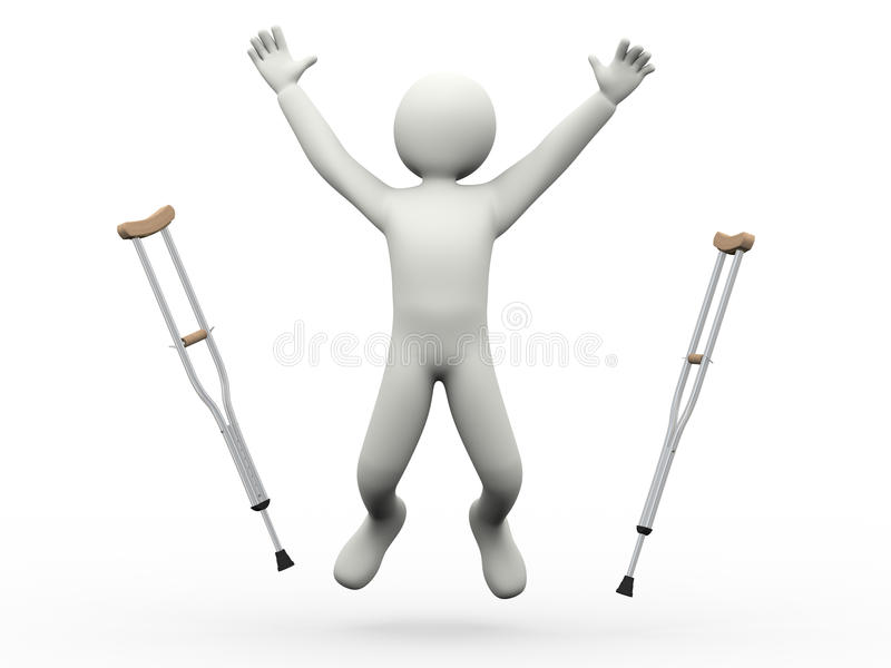 3d happy man jumping throwing crutches royalty free illustration
