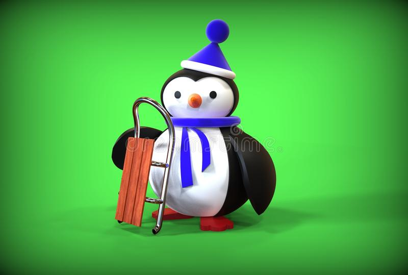 3d Happy New Year toy penguin. On green background vector illustration