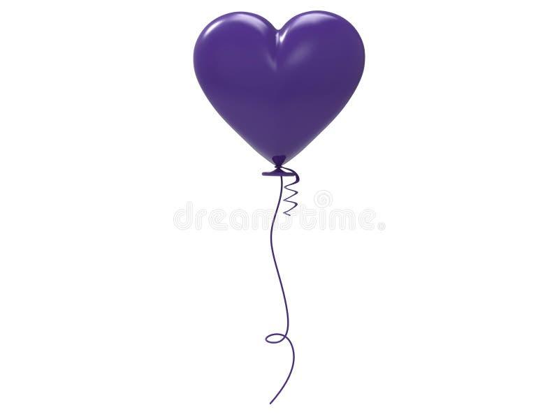 3D hart van de illustratie purpere ballon royalty-vrije illustratie