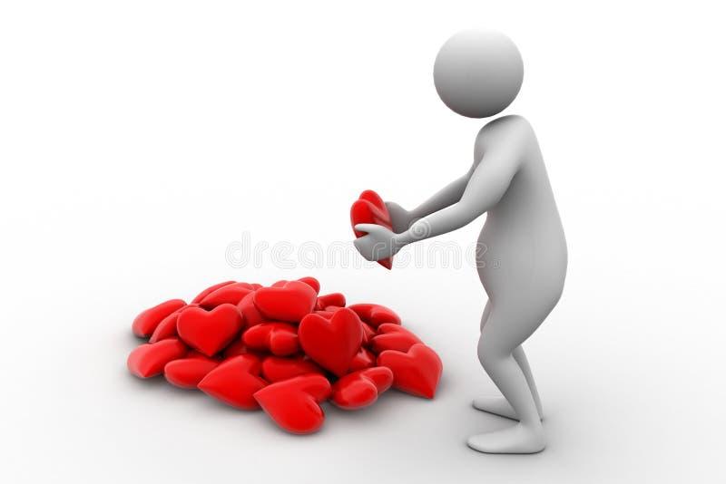 3d hart van de mensenholding in zijn handen royalty-vrije illustratie