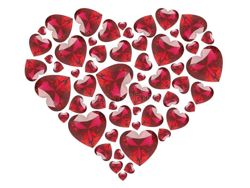 3D harten van illustratie rode diamanten stock illustratie