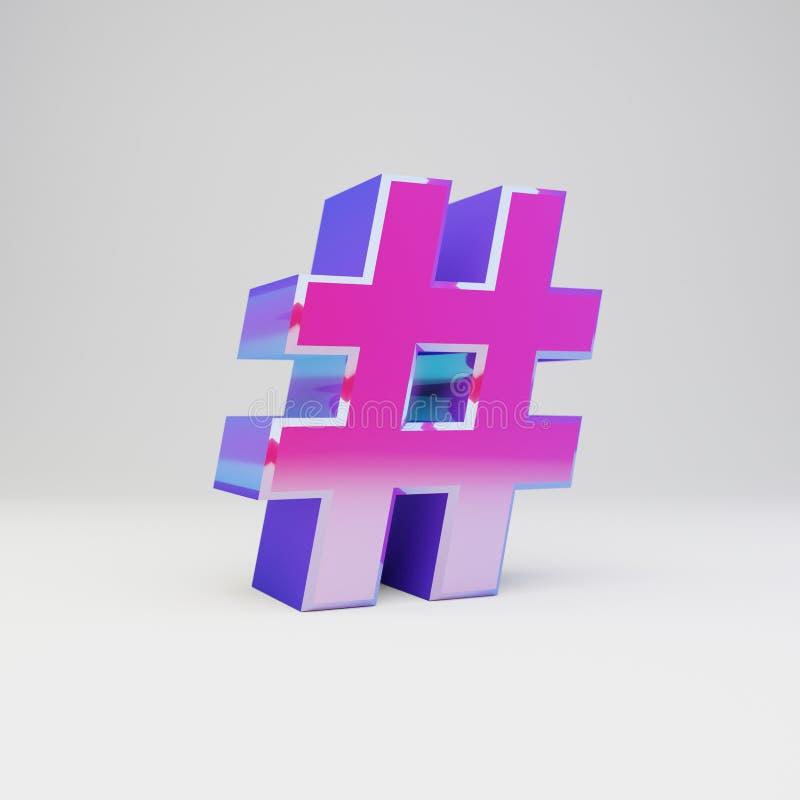 3d hashtag标志 与光滑的反射的被回报的多色金属在白色背景隔绝的字体和阴影 免版税库存图片