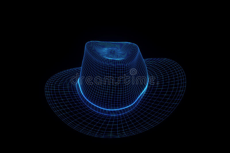 3D Hat Cap in Wireframe Hologram Style. Nice 3D Rendering stock image