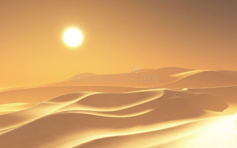 3D hazy hot desert scene. 3D render of a hazy hot desert scene stock illustration