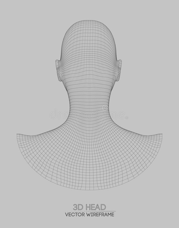 3d Head Wireframe Vector. Drawing Of Wireframe Head 3d Model. Vector ...