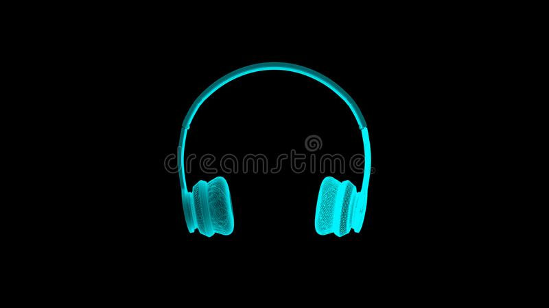 3D Headphone in Wireframe as a Blue Hologram royalty free illustration
