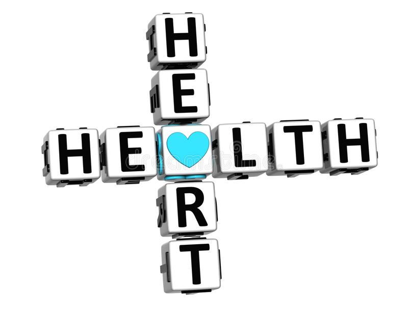 3D Health Heart Crossword Block Button text. Over white background royalty free stock image