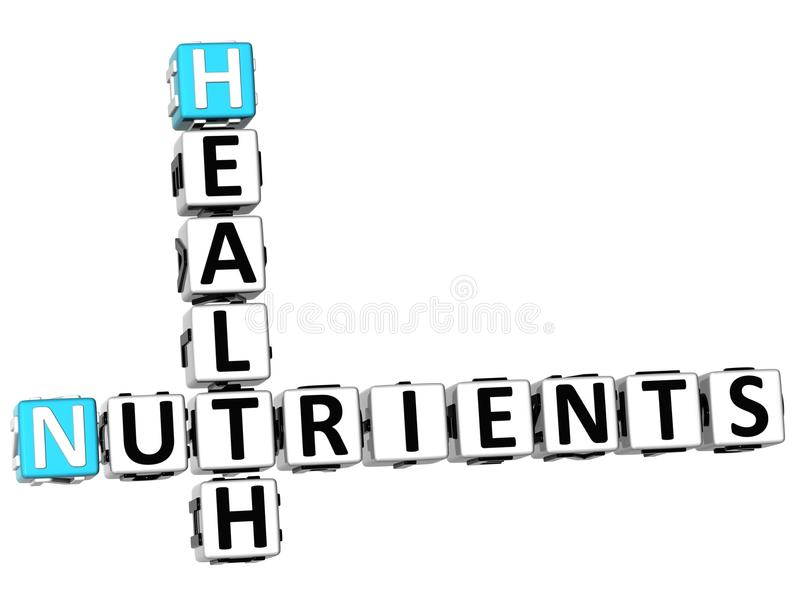 3D Health Nutrients Crossword. On white background royalty free illustration